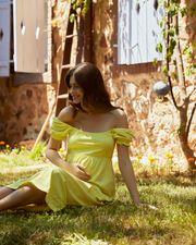 balon-kollu-hamile-elbise-s---sari-565633