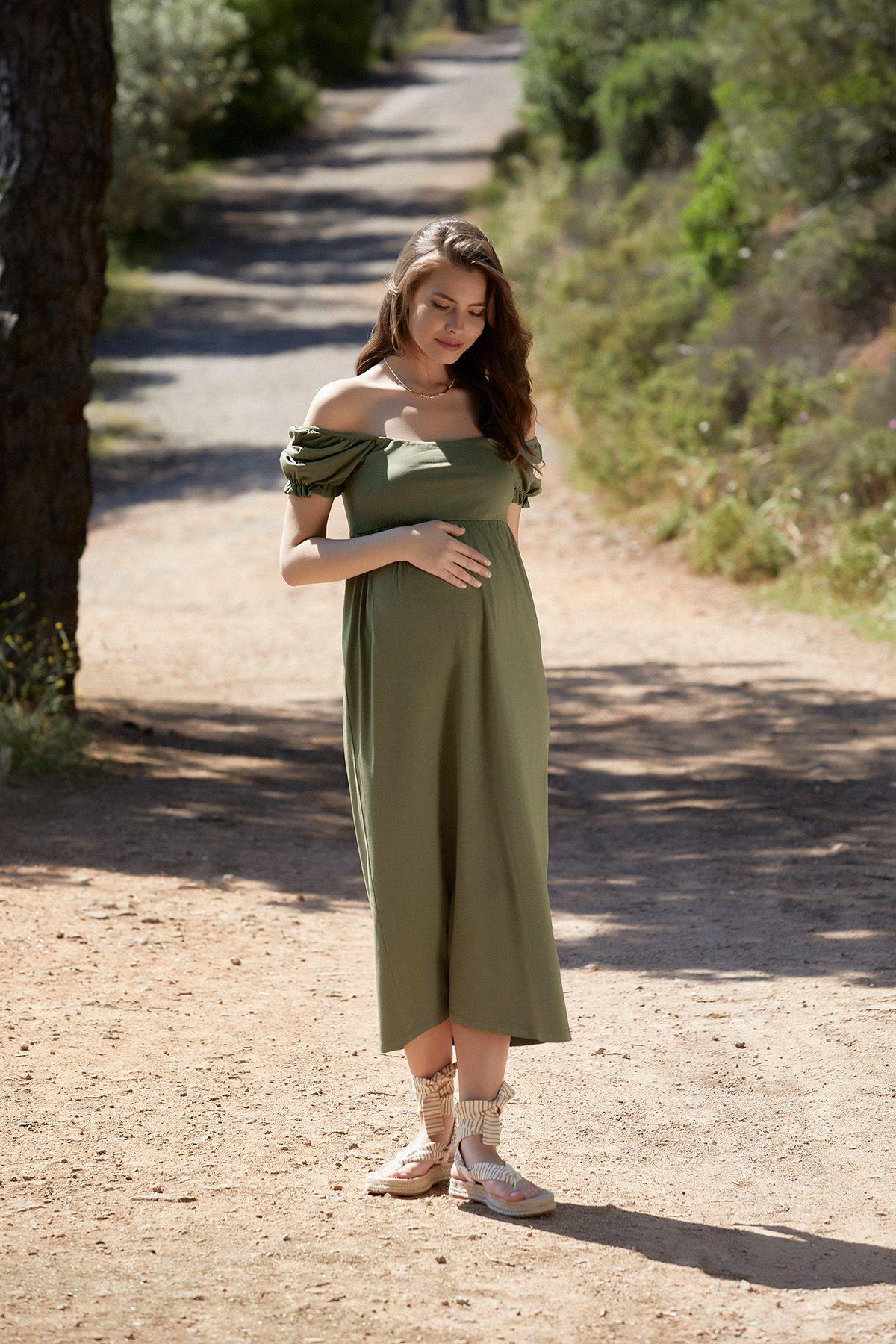 balon-kollu-hamile-elbise-s---khaki-yesil-492391