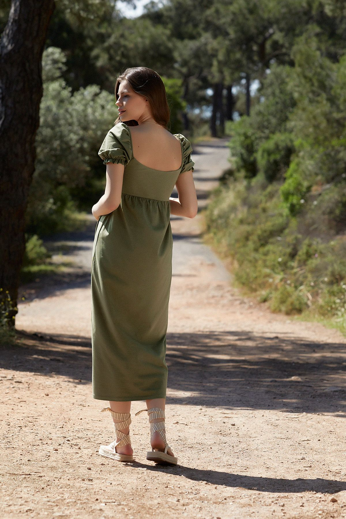 balon-kollu-hamile-elbise-s---khaki-yesil-763009